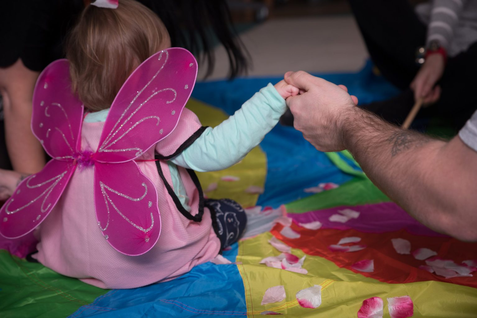 A little Flamingo Chick plays with butterfly wings during our Little Butterfly hospice tour