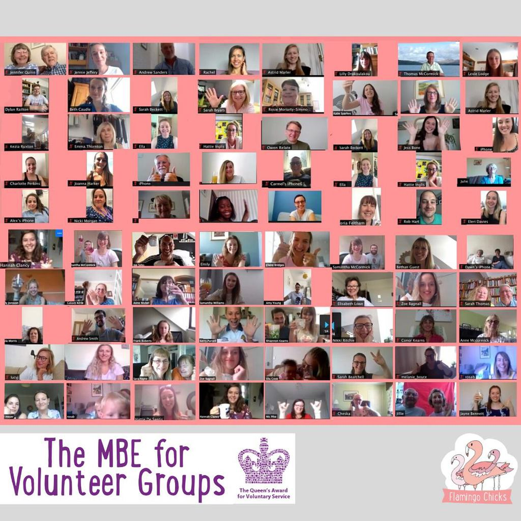 A screenshot of our Zoom party celebrating the Queen's Award for Volunteer Services