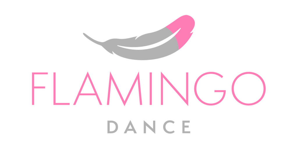 Flamingo Dance logo - a grey and pink feather above text reading: flamingo dance