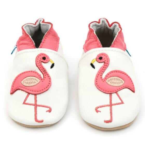 Dotty Fish Flamingo baby booties