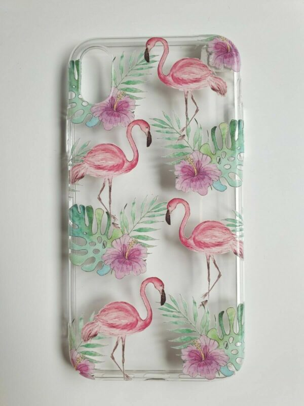 Tropical Flamingo Print iPhone case, clear plastic background with pink flamingos and green grass