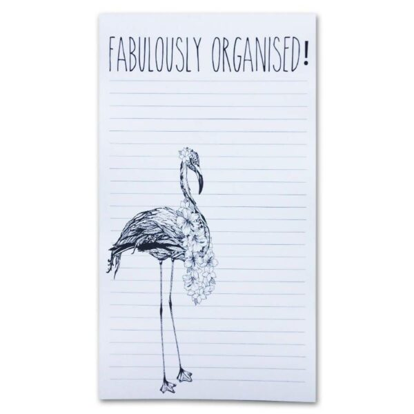 Notepad with stunning Flamingo sketch in bottom left hand corner