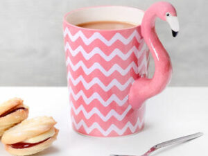 pink chevron flamingo shaped mug