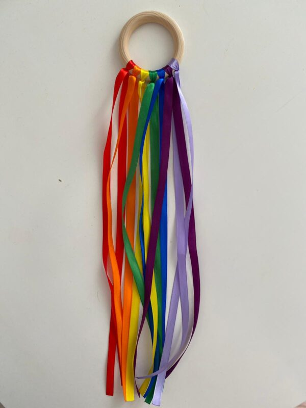 Rainbow coloured ribbons on a ring