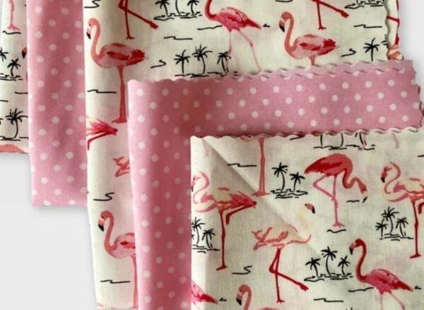 Flamingo and pink polka dot fabric