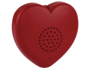 Red plastic heart with speaker holes