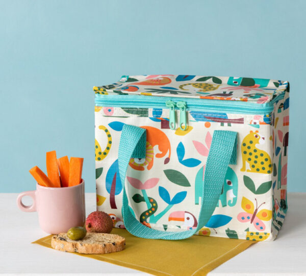 Wild Wonders Lunch Bag with zoo animals and wildlife patters and a blue zip