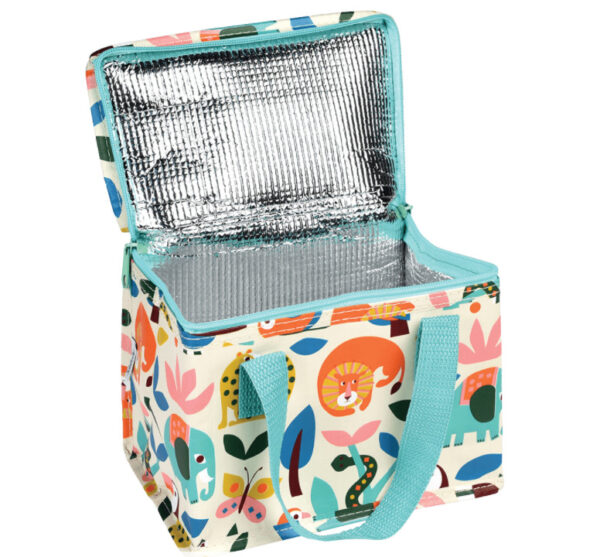Wild Wonders Lunch Bag with zoo animals and wildlife patters and a blue zip, open to reveal foil inside