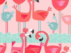 Flamingo print gift wrapping and bags